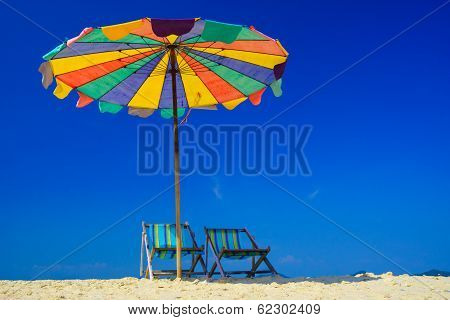 Beach Chair On Koh Khai Island, Krabi, Thailand