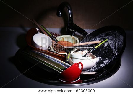 Kitchen utensils need wash close up