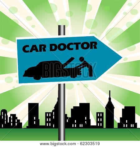 Car doctor signpost