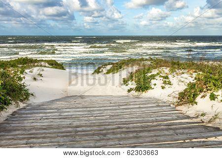 Way To The Sea Through Sand Dunes