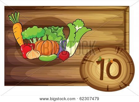 Illustration of a wooden frame with ten vegetables on a white background