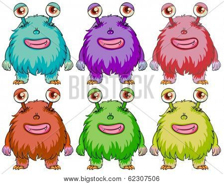 Illustration of the six colorful monsters on a white background