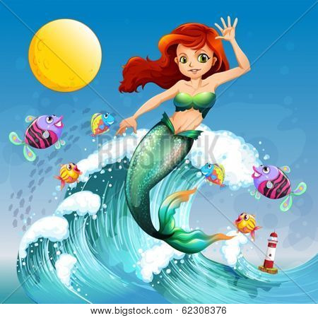 Illustration of a big wave with a mermaid and a school of fishes
