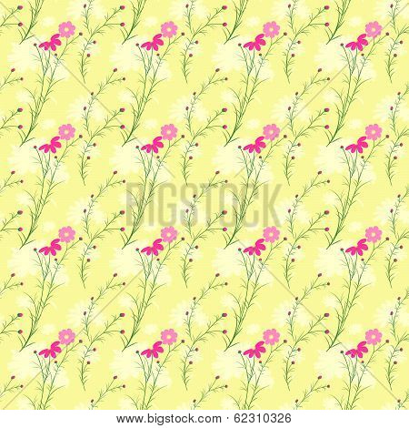 Springtime Colorful Cosmos Flower Seamless Pattern