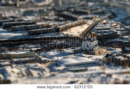 Holy Trinity Cathedral. Petropavlovsk-kamchatsky, Far East, Russia. Image With An Tilt-shift Effect