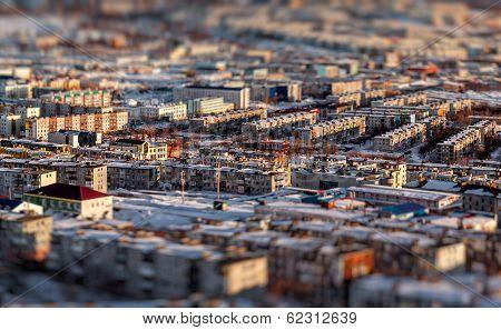 Petropavlovsk-kamchatsky Cityscape. Far East, Russia. Image With An Tilt-shift Effect