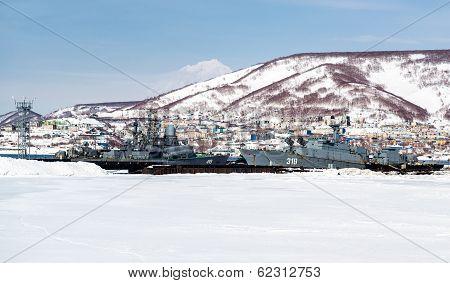 View Of Naval Vessels On The Petropavlovsk-kamchatsky Seaport. Far East, Russia