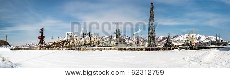 Panoramic View Of Naval Vessels On The Petropavlovsk-kamchatsky Seaport. Far East, Russia