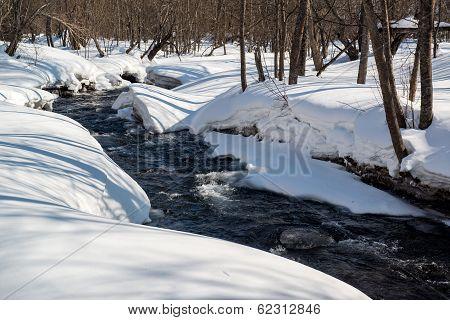 Landscape Of Mountain River. Kamchatka