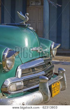 Old Aqua Blue Cuban Car Front, Vinales