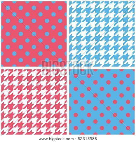 Blue, white and pink vector tile background set
