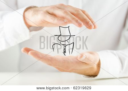 Man Holding A Hand-drawn Figure