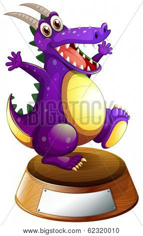 Illustration of a violet dragon and an empty label on a white background