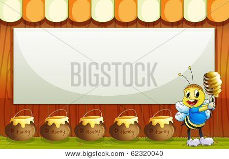Illustration of an empty signboard with a smiling bee