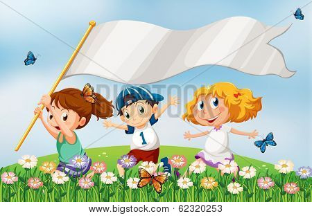 Illustration of the three kids at the hilltop running with an empty banner