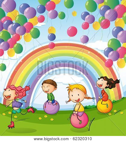 Illustration of the kids playing with floating balloons and rainbow in the sky