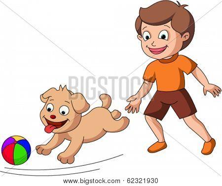 Boy chasing dog with a ball