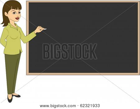 Female teacher next to blackboard