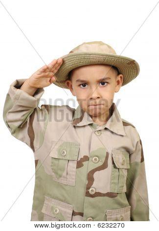 Kids saluting