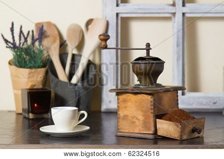 Coffee Mill With Freshly Ground Coffee