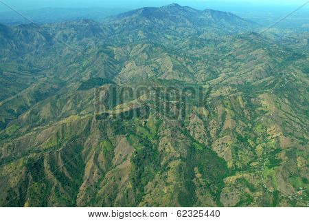 Aerial Costa Rica, Showing Mountains and Deforestation