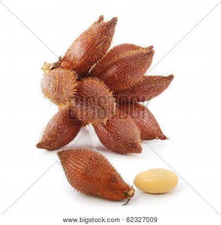 Tropical Fruit : (snake/ Salak/ Salacca/ Sala) On White Background