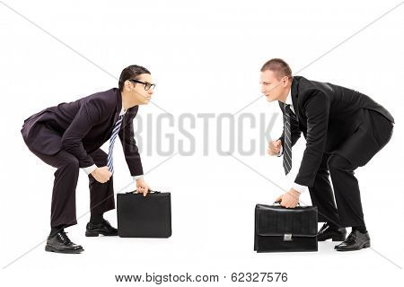 Two businessmen standing in sumo wrestling stance isolated on white background