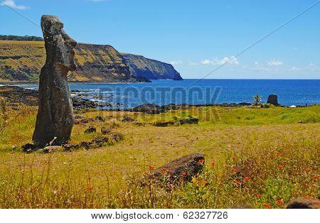 Moai Stone Statue at Rapa Nui - Easter Island