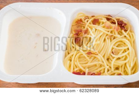 Closeup Box Of Spaghetti Carbonara