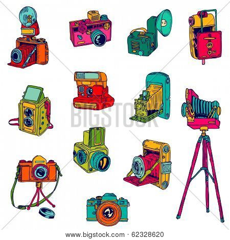 Set of Photo Cameras - hand-drawn doodles - in vector