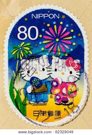JAPAN - CIRCA 2011: A stamp printed in Japan shows Hello Kitty and Dear Daniel, circa 2011