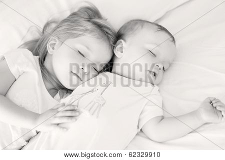 Charming Little Brother And Sister Asleep