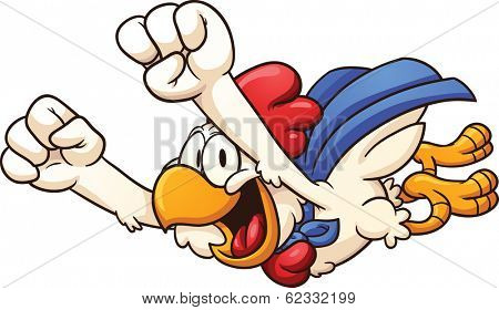 Cartoon super chicken flying. Vector clip art illustration with simple gradients. All in a single layer.
