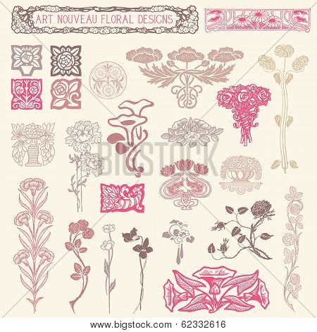 Art Nouveau Floral Ornaments
