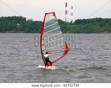 Windsurfer At Kaunas Sea On June 14, 2013 In Kaunas, Lithuania