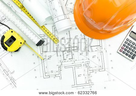 Protective Helmet And Tape Measurement Tools