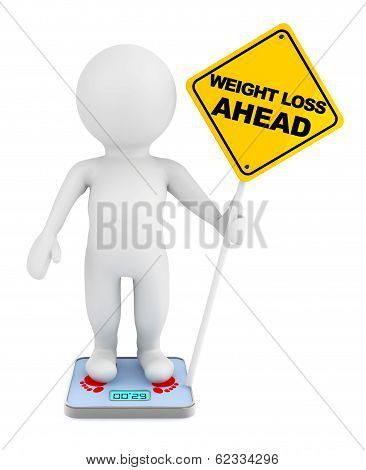 3D Person Over Weight Scale With Weight Loss Ahead Traffic Sign