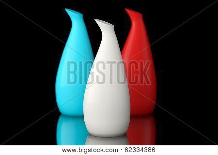 Three Color Ceramic Vases