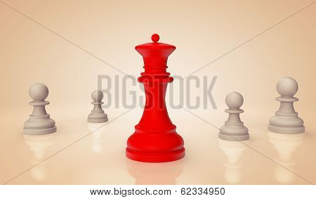 Red Chess Queen With Pawns