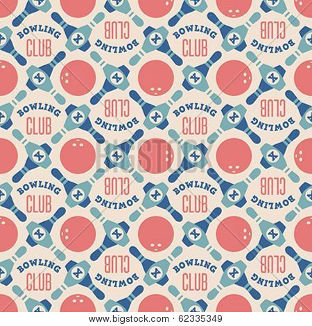 Seamless pattern of bowling balls and ninepins. Editable vector illustration.