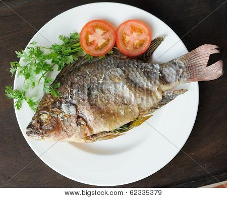 Grill Fish With Salt On Plate