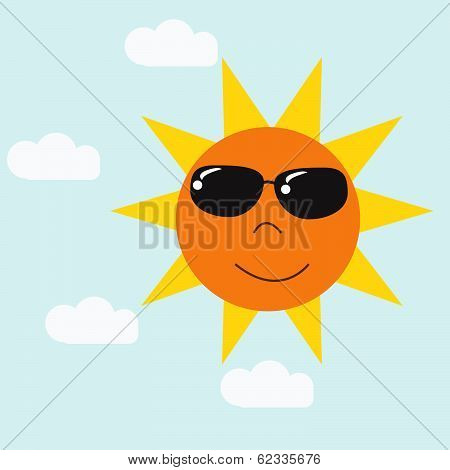 Vector Happy Sun Cartoon In Blue Sky