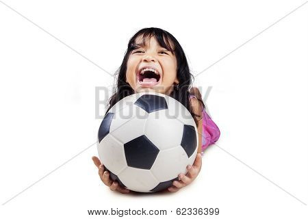 Cute Girl With Soccer Ball