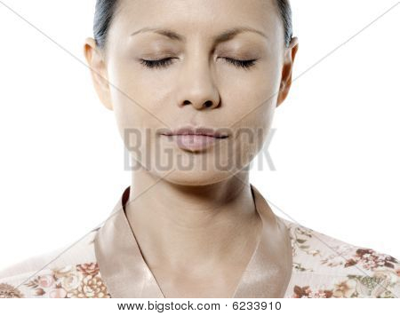 Asian Woman Eyes Closed