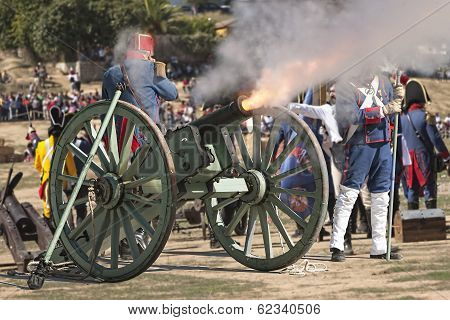French Troops Firing Cannon On The Battlefield During The Representation Of The Battle Of Bailen, Ba