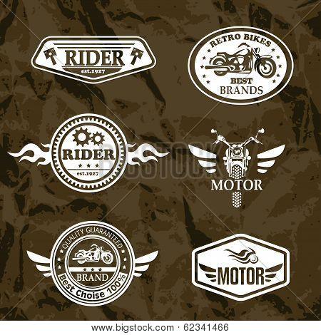 Motorcycle Vintage Labels, Set Of Emblems