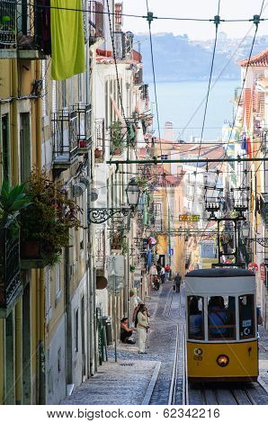 Ascensor Da Bica In Lisbon, Portugal