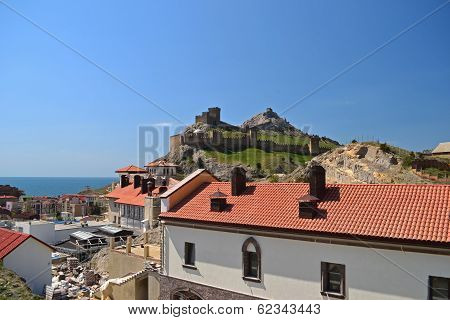 Genoese Fortress Near The Resort Town In Summer
