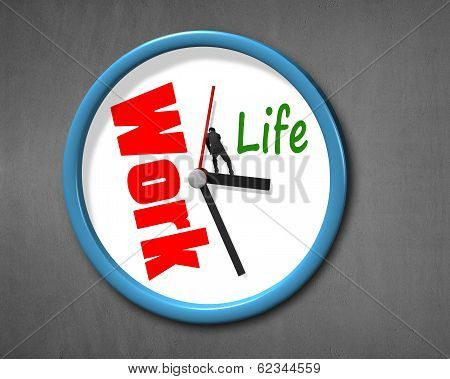 Pushing Hand With Work Life Clock Face
