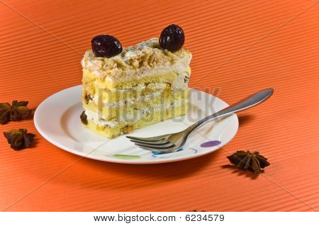Tasty And Fresh Multy Layer Cake With White Chocolate And Berry Decorations.